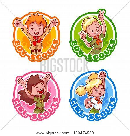 Set of four stickers with happy kids. Logo template for boy scouts and girl scouts. Vector cartoon illustration isolated on a white background.