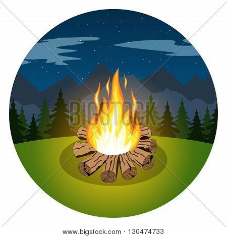Cartoon bonfire on night landscape of trees and mountains icon. bonfire. sports tourism in nature. Camping. Journey to the mountains and forests. Vector illustration. Summer tourism. bonfire icon