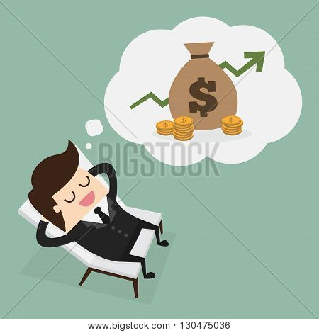 Business man dreaming about money. Business concept cartoon illustration