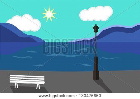 Seaside Landscape. Seaside Promenade. Vector art illustration. Flat style
