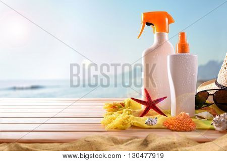 Suncream On Wooden Slats On The Beach Horizontal Composition
