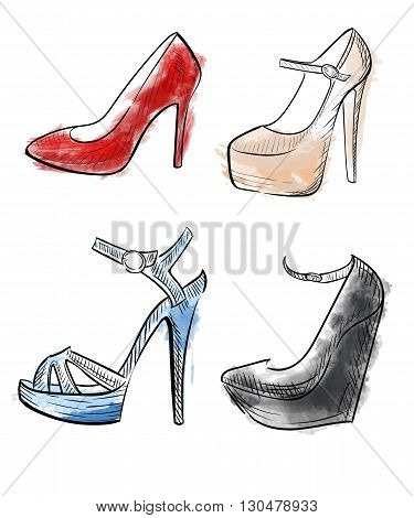 Lady shoes Sketched woman's shoe vector illustration collection of fashion high heels shoes.