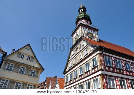 Fachwerk Town Hall on the square of a small old town. Look up. Kirchheim unter Teck Baden-Württemberg Germany