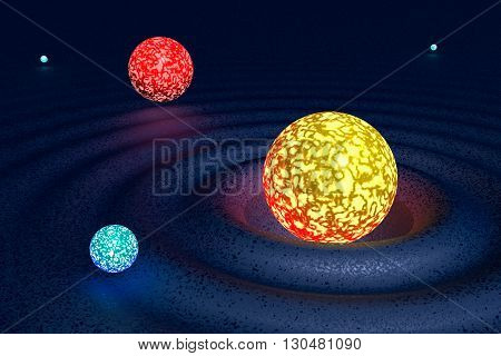 3D illustration Galaxy from five varicoloured planets