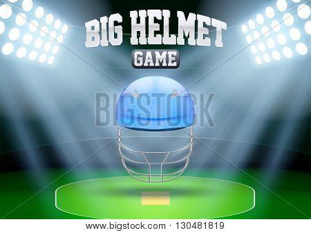 Horizontal Background for posters night cricket stadium with cricket helmet in the spotlight. Editable Vector Illustration.