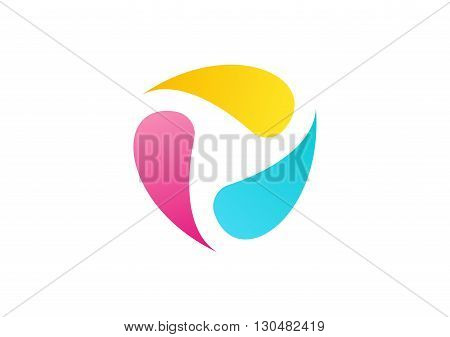 abstract liquid ink logo, circle colored elements fluid symbol icon vector design.
