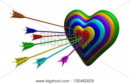 3D illustration Seven colour darts protruding in heart