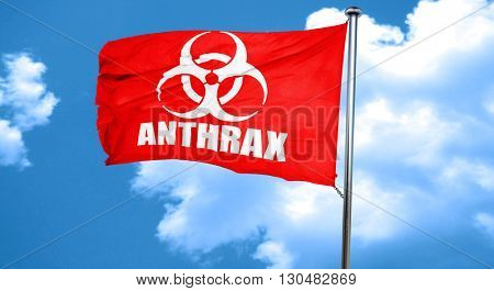 Anthrax virus concept background, 3D rendering, a red waving fla