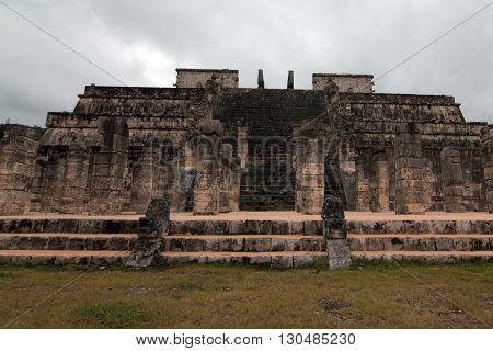 Templo de los Guerreros (Temple of the Warriors) at Chichen Itza   Mayan Ruins on Mexico's Yucatan Peninsula