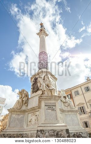 Close up of Column of the Immaculate Conception monument at Piazza di Spagna, Rome, Italy.