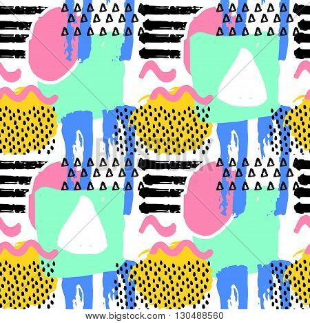 poster of Pattern of retro vintage 80s or 90s style. Memphis abstract seamless pattern background. Memphis style for textile fabric design. Vector illustration. Pop pattern for retro party fabric design