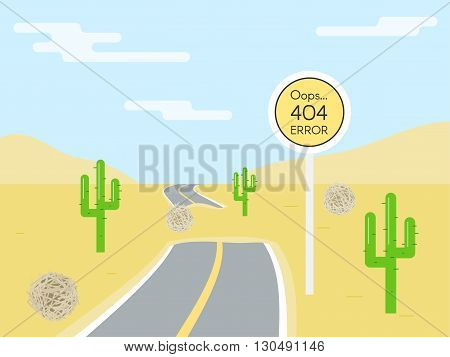404 error page template for website. Road sign in shape of yellow circle. End road. Road in the desert. Vector illustration for web design 404 page not found