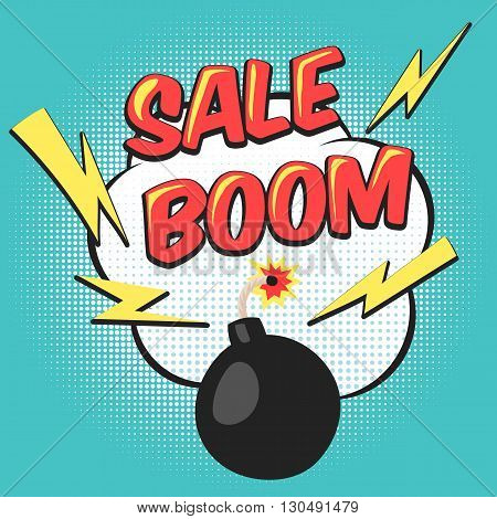 Bomb explosion flyer pop art comic mega sale discount promotion. Vector illustration background with bomb explosive boom in the pop art style