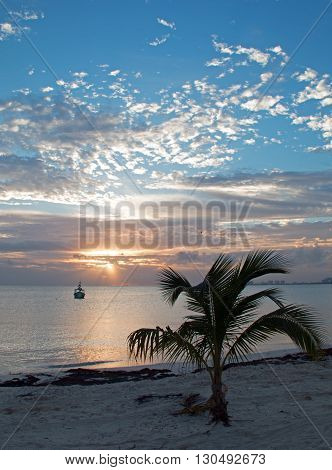 Sunrise over Puerto Juarez Bay and Beach in Cancun Mexico