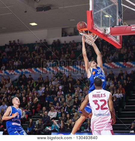 Bc Neptunas Forward Edgaras Ulanovas (31) Makes Two-handed Slam Dunk