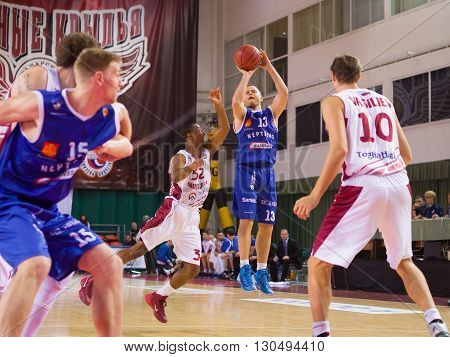 Bc Neptunas Guard Arvydas Eitutavicius (13) Goes Up For A Shot