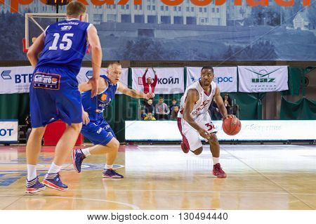 Bc Krasnye Krylia Guard Aaron Miles (32) Drives