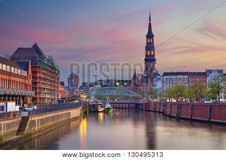 Hamburg. Image of Hamburg- Speicherstadt during beautiful sunset.