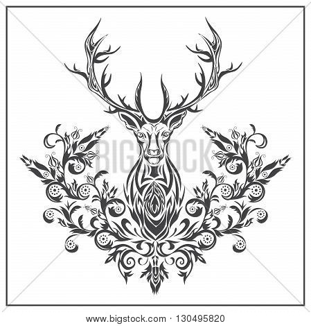 Decorative deer on a white background. Isolated herbivorous, floral, ornament in baroque style for logos, designs, tattoo. Isolated vector illustration