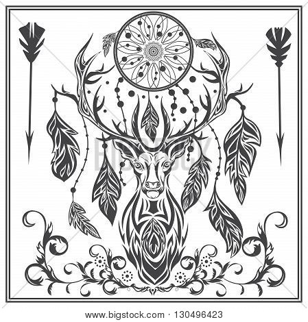 Decorative deer on a white background. Isolated herbivorous with Dreamcatcher between the horn and the ornament in baroque style for logos, designs, tattoo. Isolated vector illustration