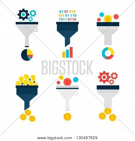 Business Sales Funnel Flat Objects Set Isolated Over White