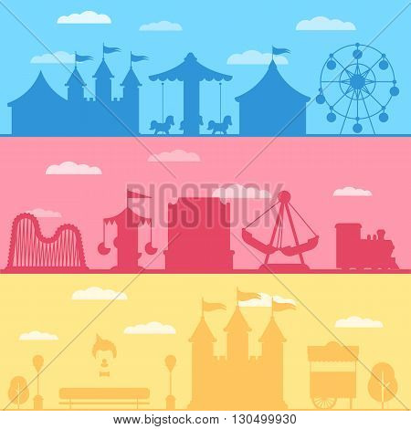 Colorful set silhouette of carnival funfair and amusement park. Vector background illustration for web design banner and print