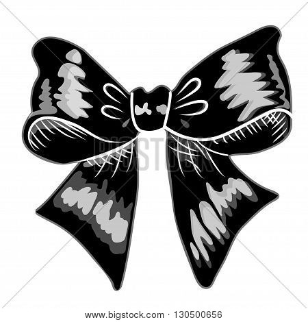 Gift bows with ribbons black color on white background. Bow Vector icon. Bow image. Bow picture.Bow eps10.Bow flat.Bow graphic.Bow object. Bow flat. Bow drawling.Bow vector stock. Bow eps