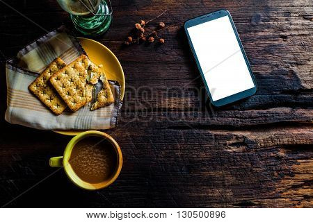 Cup Of Coffee With Crackers On Wooden, Morning
