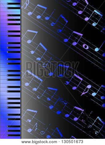 Piano keyboard and random notes musical vector background
