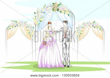 Beautiful couple in wedding ceremony . Vector illustration