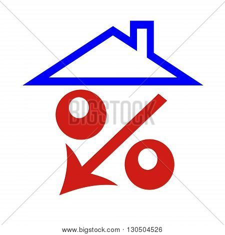 Red percent under the roof (down arrow ) hause