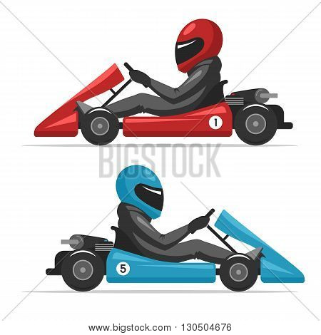 Karting go. Racing on sport kart driver man in helmet. Auto racing red and blue Go-kart. Vector cartoon illustration for web design banner and print