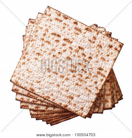 Pile Of Jewish Matzo Flatbread Isolated On White, Top View
