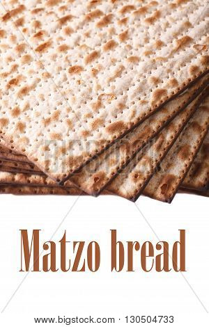 Pile Of Jewish Matzo Flatbread Isolated On White, Vertical