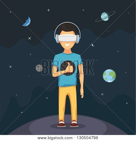 Man with virtual reality headset goggles. Virtual reality tour in open space. VR concept Vector cartoon illustration