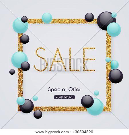 Sale Golden Banner. Sale Poster, Sale Flyer, Sale Vector. Blurred Background. Vector Illustration.