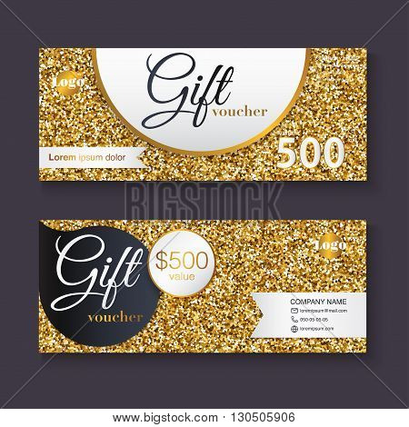 Gift Voucher Template With Gold Glitter Pattern, Gift Certificate. Background Design Gift Coupon, Vo
