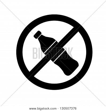 Do not drink icon. No drink sign isolated on white background. Black circle prohibition symbol. Stop flat symbol. Stock