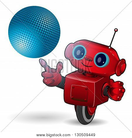 Illustration cartoon red robot with blue ball