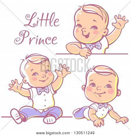 Set with cute little baby boy 6-12 months wearing bow tie, white shirt. Portrait of happy smiling baby one year old. Little prince sitting, lying on white background. Colorful vector illustration.