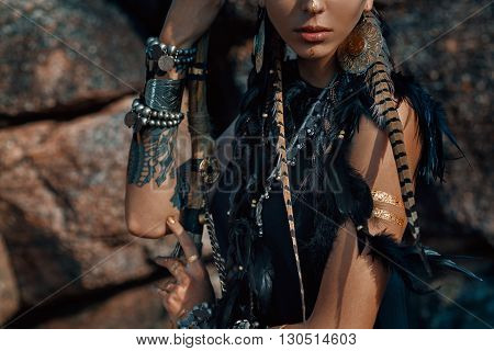 Atrractive young tribal woman close up portrait