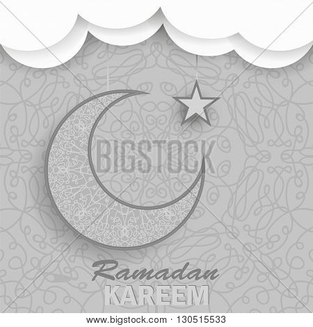 Ramadan Greetings Background. Ramadan Kareem Means Ramadan the Generous Month. Ramadan Greeting Card. Yellow Moon and Yellow Star on Grey Ornamental Background
