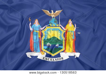Waving Flag of New York State, with beautiful satin background