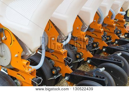 Orange seeder machinery for a Farming Tractor