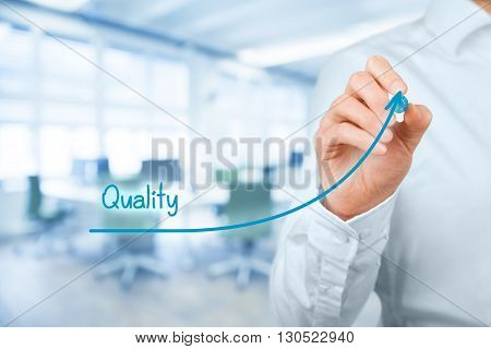 Manager (businessman coach leadership) plan to improve quality office in background.