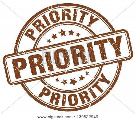 priority brown grunge round vintage rubber stamp