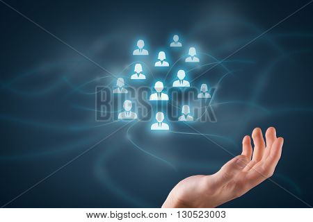 Human resources pool customer care care for employees labor union life insurance employment agency and marketing segmentation concepts. Protecting gesture of businessman or personnel and icons representing group of people.
