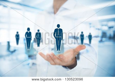 Human resources pool customer care care for employees labor union life insurance employment agency and marketing segmentation concepts. Gesture of businessman or personnel and icons representing group of people. Double exposure with office in background.