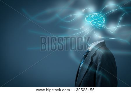 Leader think about business creativity business vision and headhunter concept. Businessman without head just with brain.