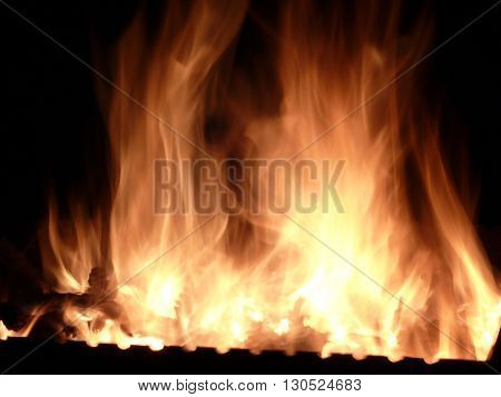 The movement of fire and big flames